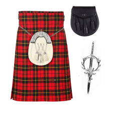 3 Piece Kilt Package with Kilt Pin and Sporran - Sizes 30-44 - Wallace Tartan