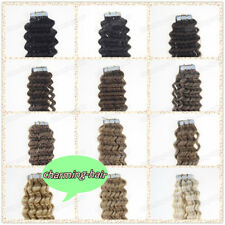 Seamless Tape in Skin Weft Brazilian Remy Human Hair Extensions Curly 20/40Pcs