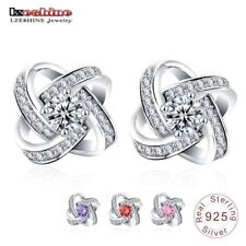 100% Genuine Sterling-silver-jewelry Earrings Stud with CZ Stone Sterling Silver