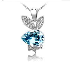 Women Cute Charm Jewelry Chain Pendants Austrian Crystal Necklace - Rabbit noble