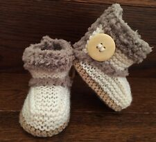Hand Knitted Baby Booties/Boots/Slippers Sheepskin Style Button Soft UGG 0-12M