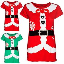 New Women Ladies Christmas Cap Sleeve Candy Stick Santa Claus Belted T Shirt Top