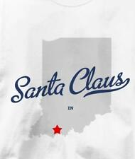 Santa Claus, Indiana IN MAP Souvenir T Shirt All Sizes & Colors
