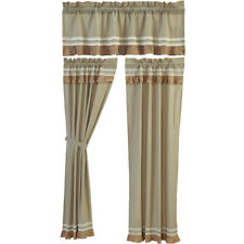 """Kendra Green Stripe Ruffled Country Lined Curtains Drape 40x84"""" & Valance Option"""