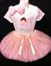 Ballerina --With NAME-- 4th Birthday Dress shirt 2pc Pink Tutu outfit Dance