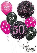 Black and Pink 50th Birthday Balloon Bouquet Adult Party Decorations