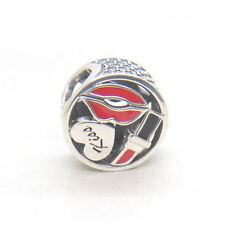 Authentic Genuine S925 Sterling Silver Glamour Kiss Red Enamel & CZ Bead Charm