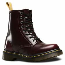 Dr.Martens Vegan 1460 8-Eyelet Cherry Red Womens Cambridge Brush Combat Boots