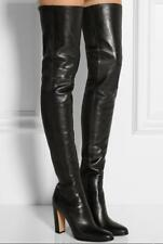 Ladies Clubwear Real Leather Block Heel Shoes Over The Knee High Knight Boots sz