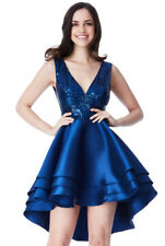 New Navy Multilayered Sequin Satin Mini Skater Prom Christmas Party Dress (8-14)
