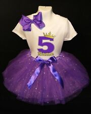 Princess Crown--With NAME-- 5th Birthday Dress shirt 2pc Purple Tutu outfit