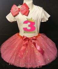Princess Crown --With NAME-- 3rd Birthday Dress shirt 2pc Fuchsia Tutu outfit