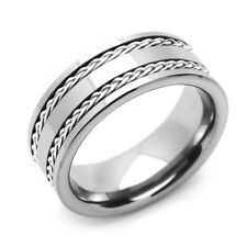 8mm Tungsten Comfort Fit Wedding Band Promise Ring Braided Silver Strands Ring