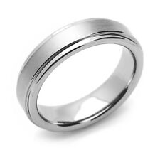 5.5mm Tungsten Comfort Fit Wedding Band Promise Ring Brushed Center Grooved Edge