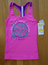 NWT UNDER ARMOUR VICTORY TANK TOP SHIRT FITTED PINK GIRLS SMALL MEDIUM LARGE