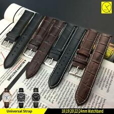 Genuine Leather Watch Band Strap Stainless Steel Clasp Black Brown 18 20 22 24mm