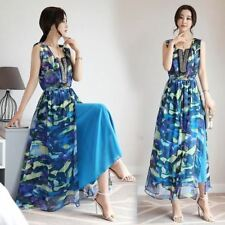 Women  Fashion Bohemian Printed Sleeveless Casual Seaside Beach  Dress