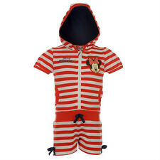 BNWT Girls Disney MINNIE MOUSE Summer Playsuit 5-6y Hooded Shorts+Top Red Stripe