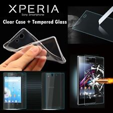 Premium Tempered Glass Screen Protector+Clear Gel Case for All Sony Experia S005