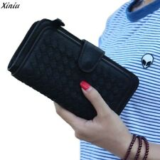 Fashion Portable Long Lovely Weave Leather Wallet Card Holder Wallet Purse Lady