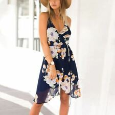 Women Fashion Backless Strapless Spaghetti Strap Floral Print Casual Dress
