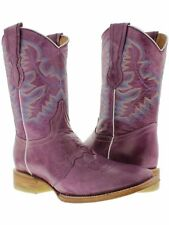 Women's Purple  Leather Cowboy Western Mid Calf Ankle Square Toe Boots