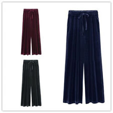 Women Solid Pleuche Elastic Tie Waist Stretchy Loose Pleated Long Trousers Pants
