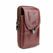 Man Real Leather Fanny Pack Waist Bag Zipper Pouch Purse Case LG iPhone Samsung