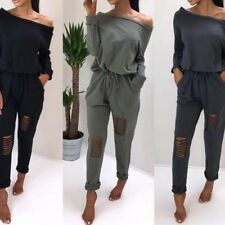 Women Long Sleeve Boat Neck Drawstring Rompers Knee Hole Pants Casual Jumpsuits