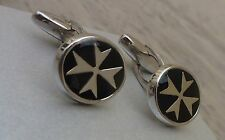 925 Sterling Silver Maltese Cross Solid Oval Cufflinks with Black/Blue Enamel