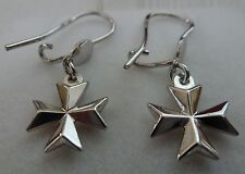 Hallmarked 925 Sterling Silver Maltese Cross Amalfi Cross Earrings with hook