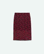 ZARA BLACK RED MIDI SCALLOPED STRETCHED LACE SKIRT SEXY BLOGGERS FAVORITE MIXED