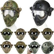 Military Tactical Airsoft Paintball Protective Fast Helmet Full Mask Goggle Lens