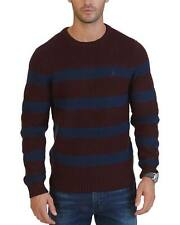 Nautica Breton Striped Crewneck Pullover Sweater Burgundy & Navy