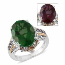 Alexandria Quartz, Multi Gemstone 14K YG and Platinum Over Sterling Silver Ring