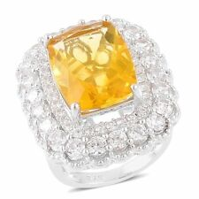 Canary Fluorite, White Zircon Sterling Silver Ring  TGW 16.45 cts.