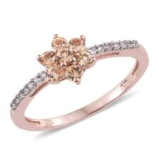 Imperial Topaz, Cambodian Zircon 14K RG Over Sterling Silver Floral Ring (Size 6