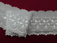 """5 METRES Top Quality Bright White Cotton Broderie Anglaise Lace Trim 3""""/8cm"""