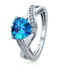 Sterling Silver Engagement Ring CZ Light Blue Color Heart CZ Ring