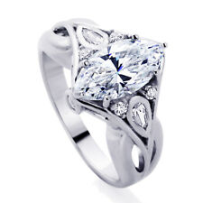 Sterling Silver Wedding Ring Marquise CZ  Engagement Ring