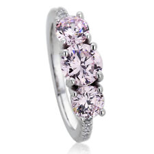 Platinum Plated Sterling Silver Engagement Round Pink CZ Three Stone Ring