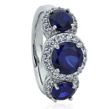 Sterling Silver Engagement Ring Round Blue CZ Three Stone Ring