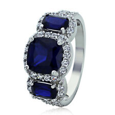 Sterling Silver Engagement Ring CZ Cushion Cut Blue CZ Three Stone Shape Ring