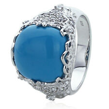 Sterling Silver Engagement Ring CZ Simulated Turquoise CZ Accent Ring
