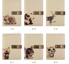 PU Leather Cute pet Diary Pocket Journal Planner Notebook With Lock Password
