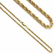 2mm 14K Two Tone Gold Rope Chain Necklaces
