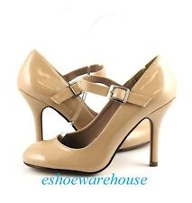 Dark Beige Patent Awesome Cutie Mary Jane Round Toe Stiletto Pumps Heels