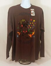 Men's Ed Hardy Death Or Glory Skull Panther Long Sleeve T-Shirt Size 2XL-4XL New