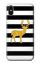 S2794 Black White Striped Deer Gold Case for IPHONE Samsung Smartphone ETC