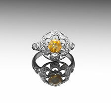 925 Sterling Silver Ring with Natural Yellow Citrine Gemstone Natural Handmade.